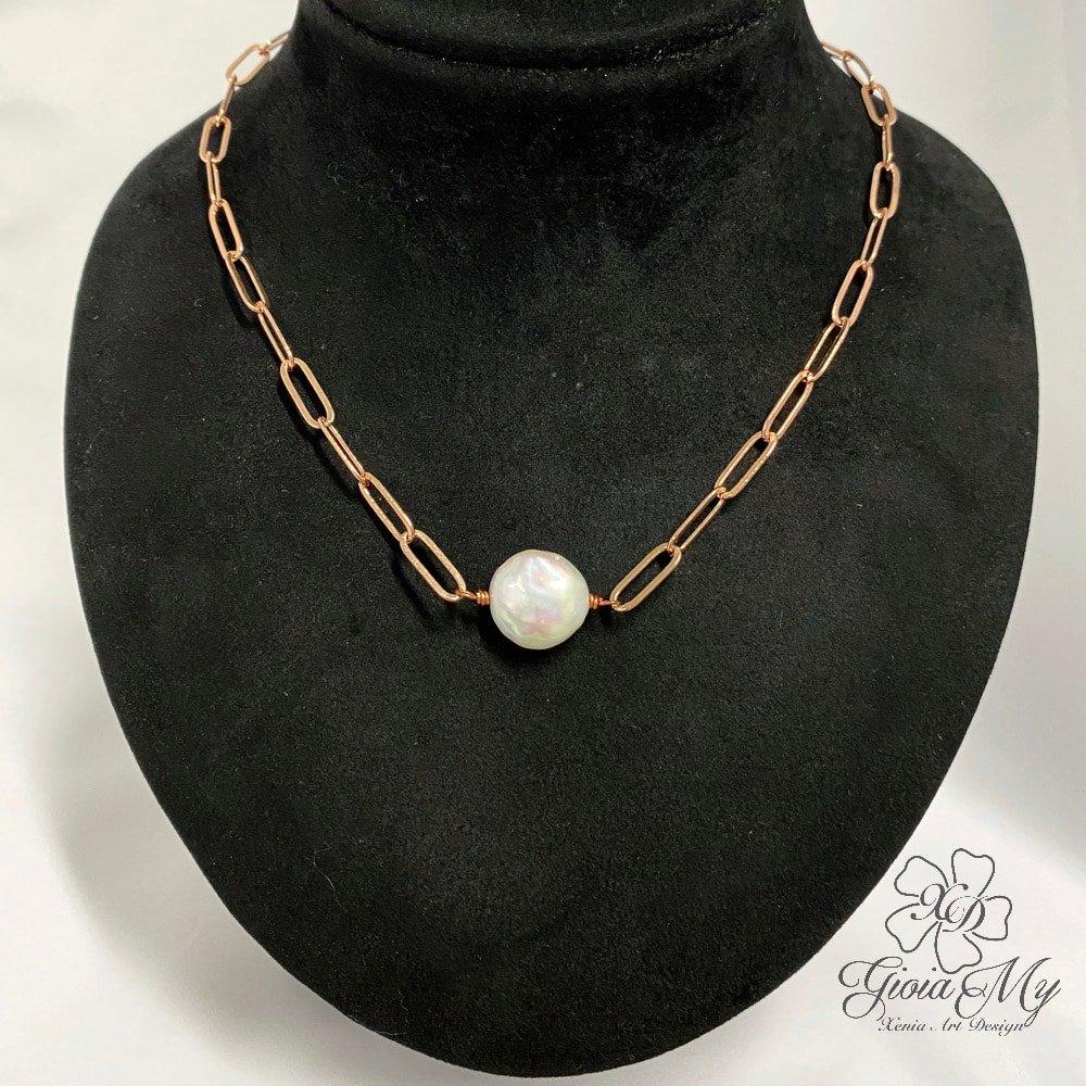 collana artigianale con perla barocca bianca