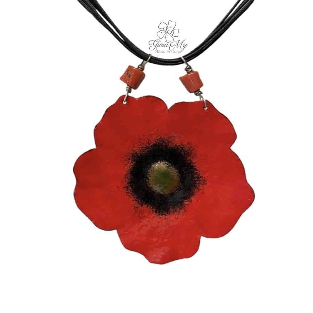 Collana fiore Papavero rosso con corallo del Mediterraneo