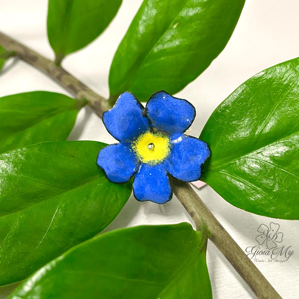 Anello in argento 925 fiore Pervinca blu